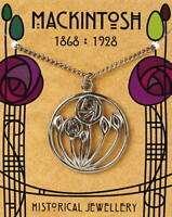 Charles Rennie Mackintosh Pewter Circular Rose Pendant On A Chain
