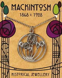Charles Rennie Mackintosh Pewter Circular Rose Pendant On A Chain