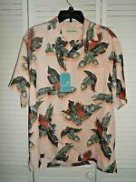 Great Caribbean men's size L peach Hawaiian print short sleeve button up shirt