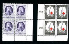 LOT 82553 MINT NH 709 710  PLATE BLOCKS PRINCE EUGENE OF SAVOY - EMBLEM AUSTRIA