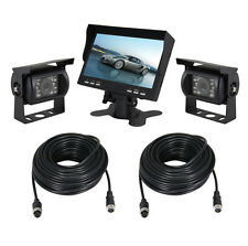 "2 Car Rear View System Backup CCD Camera IR Night Vision+ 7"" TFT LCD Monitor"