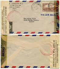 HAITI WW2 DOUBLE CENSORED AIRMAIL 1944 LUCKY STRIKE CIGARETTES ENVELOPE