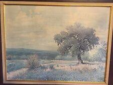 1958 Porfirio Salinas Texas Hill Country Landscape Lithograph Print Art 23 x 17