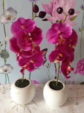 Two Artificial Pink Orchid Flower Arrangements In White Ceramic Pots