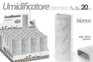 UMIDIFICATORE AMBIENTE EVAPORATORE TERMOSIFONE 20 CM BIANCO CUORE PAM-721717