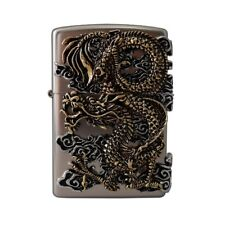 Zippo Lighter Silver Flying Dragon Emblem Unpolish Nickel Matte Windproof Unique