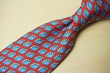 Hermes 5353 TA Cherry Red Blue Suitcase Novelty Travel Silk Mens Tie