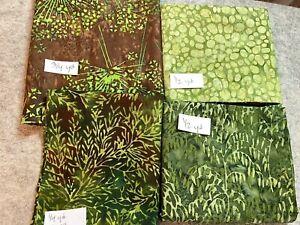 Lot of green cotton batik fabrics, 2 yds total 4 prints