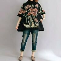 Black  Designer Floaty Arty Flower  Long Layer Loose Sweater Jumper Tunic Top 14