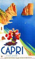 "Vintage Illustrated Travel Poster CANVAS PRINT Capri 24""X16"""