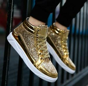 High Top Sneakers Flat Sequin Lace Up Patent Leather Men's Causal Sports Shoes