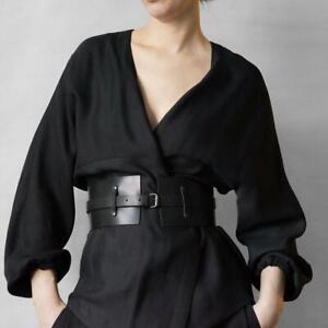 Women's Fashion Wide Waist Belt Faux Leather Elastic Dress Pin Buckle Waistband