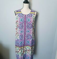 Anthropologie Kachel Womens Printed Silk Floral Paisley Sleeveless Dress Sz. 12