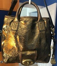 Mulberry Jody Bag In Gold Bronze Metallic Crackle Leather Detachable Strap GC