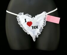 "New ""I Love You"" Hers G-String Thong with a Valentine Red Heart Design One Size"