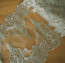 "10"" Wide Ivory Tulle Lace with Embroidered Gold Metallic Flower Wedding q0067"