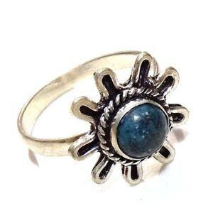 Lapis Lazuli Stone 925 Silver Overlay Handmade Ring Size 8 US MR21-40