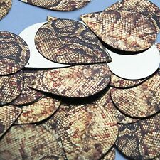 "Teardrop Sequin 1.5"" Gold Brown Snakeskin Reptile Pattern Metallic"