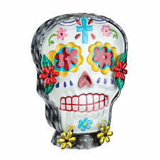 Sugar Skull Day of The Dead Glass Metal Electric Lamp NEW halloween muertos desk