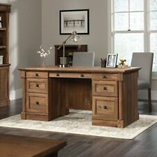 Sauder Palladia Executive Desk, Vintage Oak