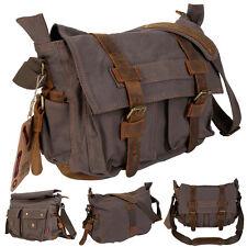 Men's Vintage Canvas Leather School Military Shoulder Messenger Bag