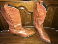 TONY LAMA 1012 VINTAGE SOFT BROWN LEATHER WOMEN'S 8.5M WESTERN COWGIRL BOOTS