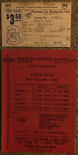 4 Old Automobile Items - 1930 Catalog/1942 & 1943 Registrations/Flyer 1920