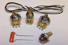 Jazz Bass Guitar Wiring Kit WITH  BLEND SETUP CTS 250K Pots Orange Drop .047uf