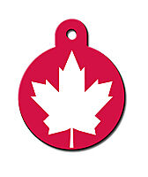 INTERNATIONAL CANADIAN FLAG ENGRAVED ROUND PET ID TAG