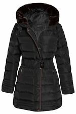 Womens Quilted Faux Padded Belted Warm Fur Long Winter Hooded Trim Coat Black UK 12