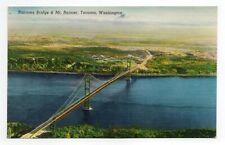 Narrows Bridge & Mt. Rainier, Tacoma, Washington. SMITHS SENIC VIEWS 1940's