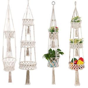 Hängeampel Blumenkorb Makramee Pflanzenbügel Innenhalter Baumwolle für Veranda