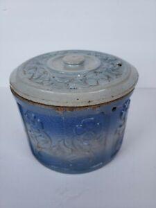 Antique Vintage Blue Butter Salt Crock with Lid Embossed Daisy Flower Red Wing