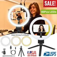 "9"" LED Selfie Ring Light w/Tripod Stand Phone Holder for Live Stream Dimmable"