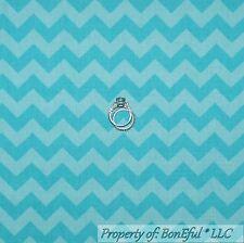 BonEful Fabric FQ Cotton Quilt VTG Aqua Teal Blue Chevron Turquoise STRIPE Retro
