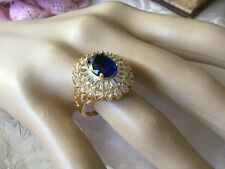 Antique Art Deco Vintage Gold Ring Dark Sapphire Blue White Stones size 7 or O