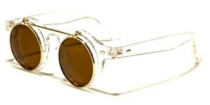 Flip Up Sunglasses Mens Womens Clear Frame Round Steampunk Retro Hippie Style