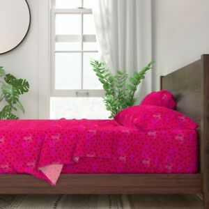 Watermelon Seeds Fruit Red Magenta 100% Cotton Sateen Sheet Set by Roostery