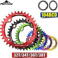 Bicycle Crank 104BCD Round/Oval Shape Narrow Wide MTB Chainring Chainwheel Bike
