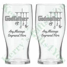 Engraved Pint Glass GODFATHER GODMOTHER Christening Gift Thank You Personalised