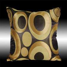 ABSTRACT GOLD COLORFUL CIRCLES EMBROIDERY THROW PILLOW CASE CUSHION COVER 17""