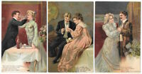 Lot of 3~Romantic Greetings~Postcards with ~Pretty Victorian Ladies & Men-a586