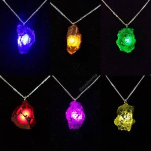 Full Set Raw Infinity Stone Pendant Necklaces kryptonite loki gauntlet fatal5150