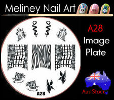 A28 Stamping Nail Art Image Plate Design Round XL Stencil metal
