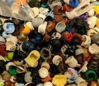 100% GENUINE LEGO Lot Of 20 Minifigure Hats Helmet Hair Bulk Mixed Various