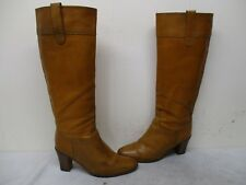 J Crew Italy Brown Leather Knee High Heel Boots Womens Size 6.5 Style 78915