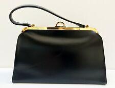 sac à main vintage classique et chic des années 1960's cuir noir lisse #2