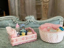 Vintage Miniature Dollhouse Artisan Made Pair Pink Baby Girl Bath Time Dioramas