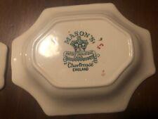 Mason Ironstone chartreuse china candy dish green and gold
