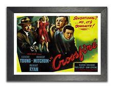 Crossfire #35 Film Noir Drama Retro Advert Poster Young Mitchum Ryan Stars Print